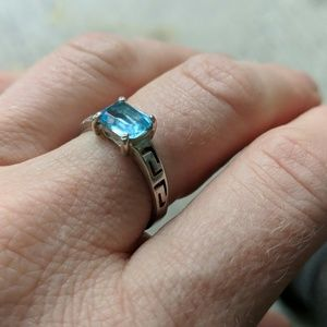Aquamarine Greek Ring